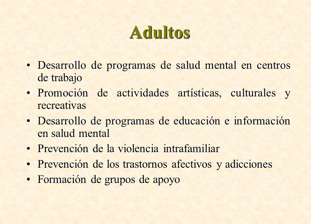 Adultos Desarrollo de programas de salud mental en centros de trabajo