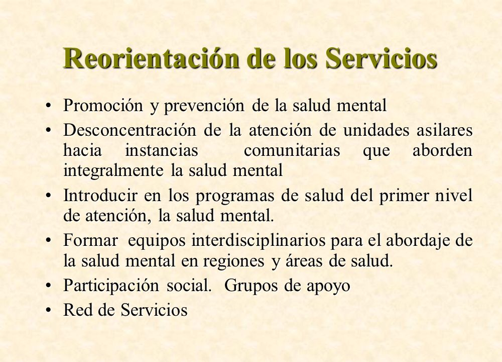 Reorientación de los Servicios
