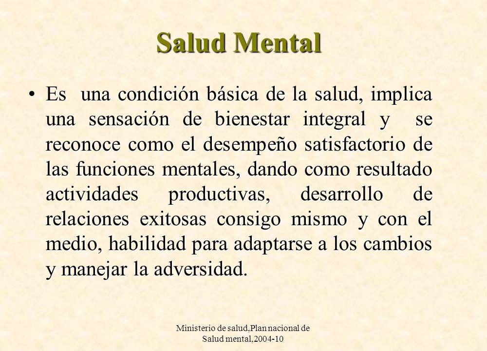 Ministerio de salud,Plan nacional de Salud mental,2004-10