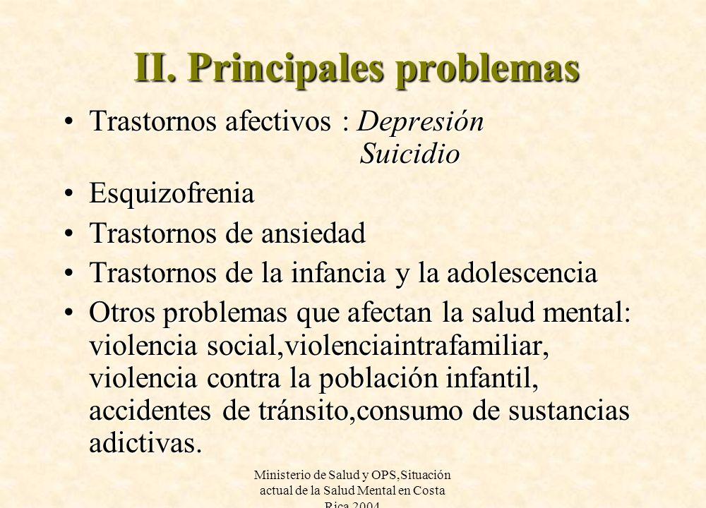 II. Principales problemas