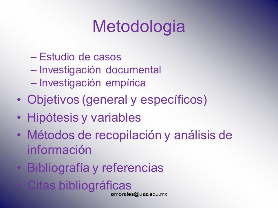 Metodologia Objetivos (general y específicos) Hipótesis y variables