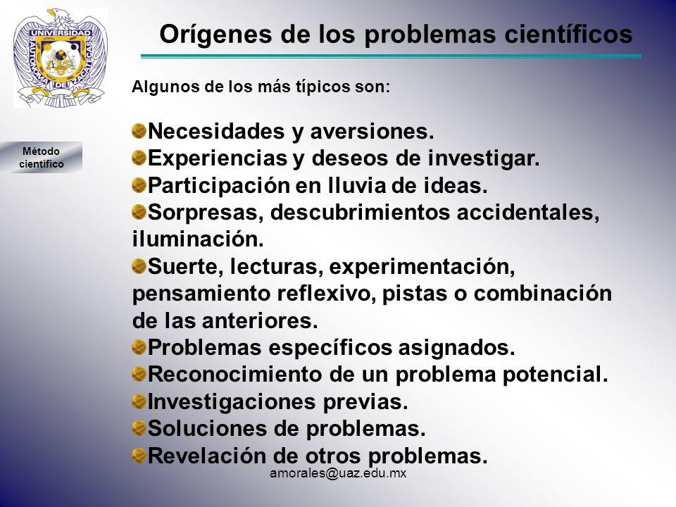 Orígenes de los problemas científicos