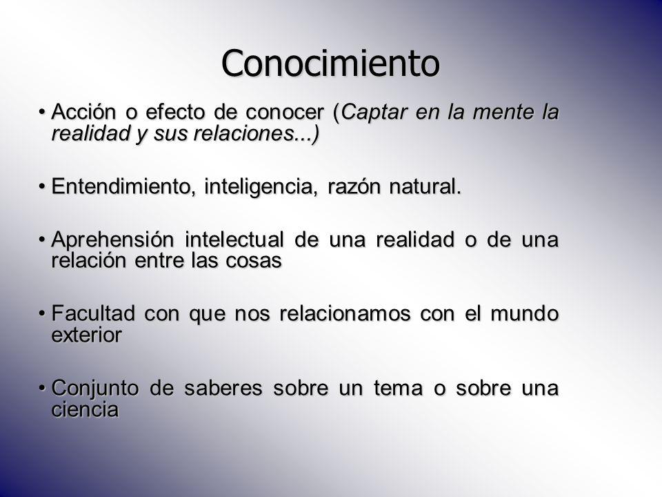 Conocimiento Acción o efecto de conocer (Captar en la mente la realidad y sus relaciones...) Entendimiento, inteligencia, razón natural.