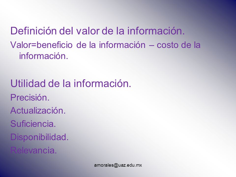 Definición del valor de la información.