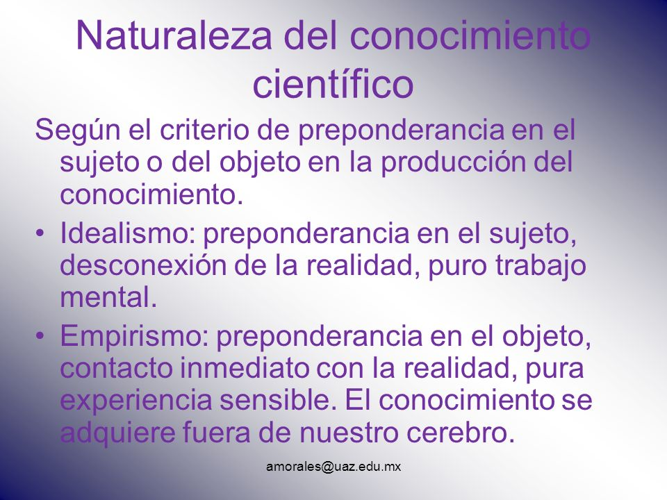 Naturaleza del conocimiento científico