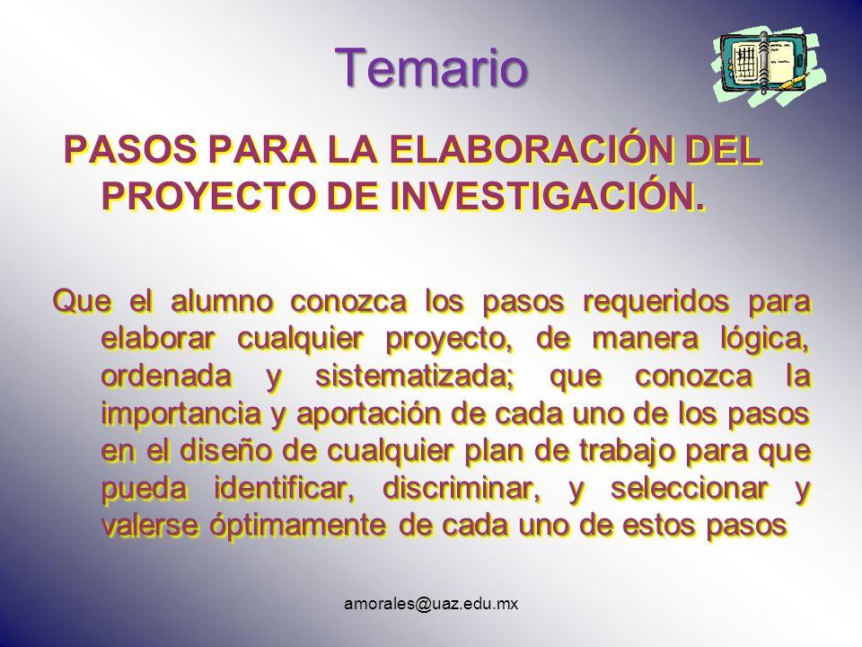 Temario PASOS PARA LA ELABORACIÓN DEL PROYECTO DE INVESTIGACIÓN.