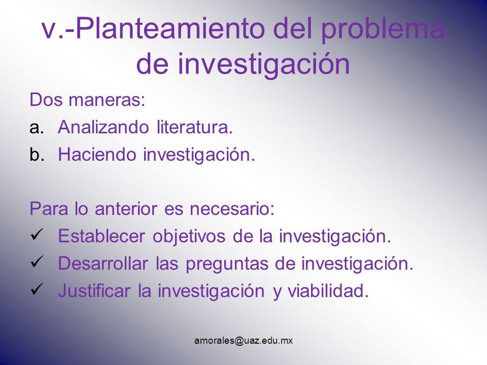 v.-Planteamiento del problema de investigación