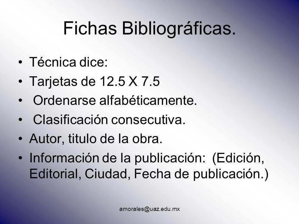 Fichas Bibliográficas.
