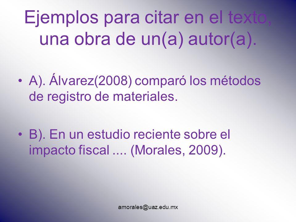 Ejemplos para citar en el texto, una obra de un(a) autor(a).