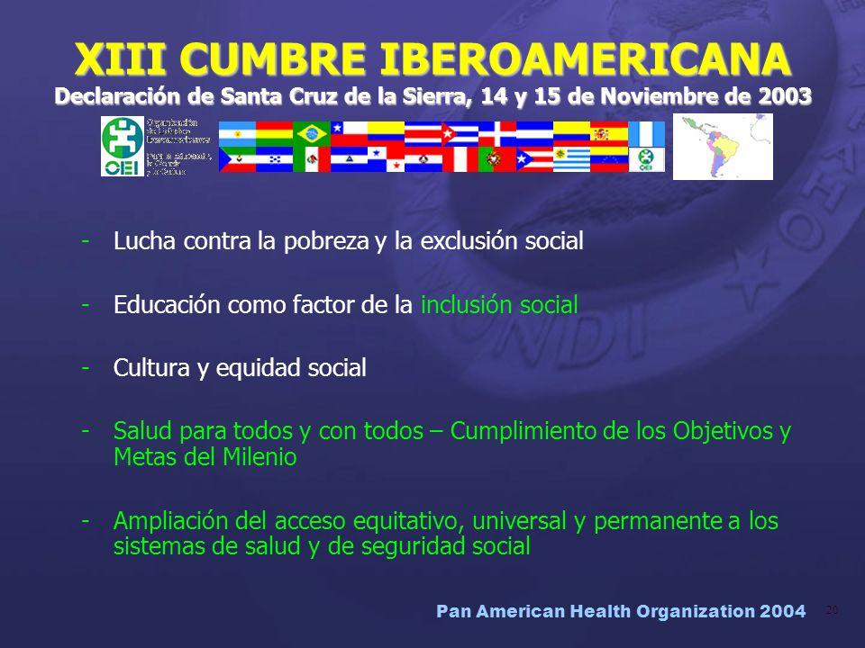 XIII CUMBRE IBEROAMERICANA Declaración de Santa Cruz de la Sierra, 14 y 15 de Noviembre de 2003