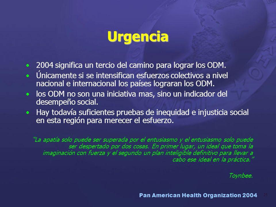 Urgencia 2004 significa un tercio del camino para lograr los ODM.