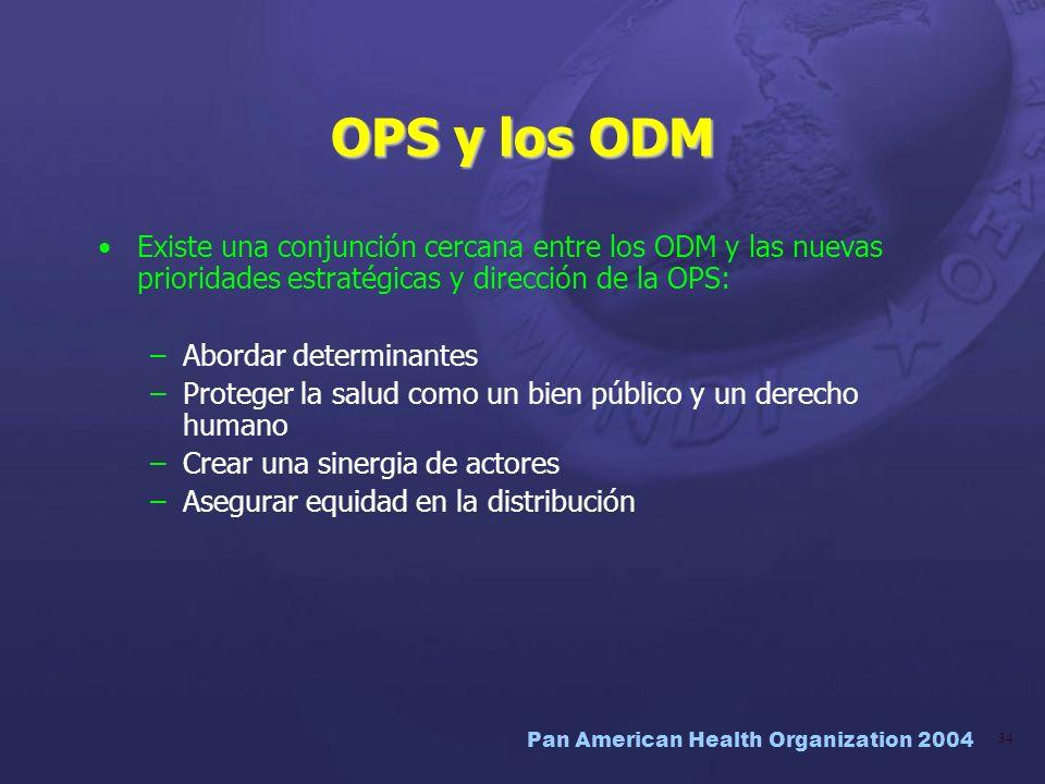 OPS y los ODM Existe una conjunción cercana entre los ODM y las nuevas prioridades estratégicas y dirección de la OPS: