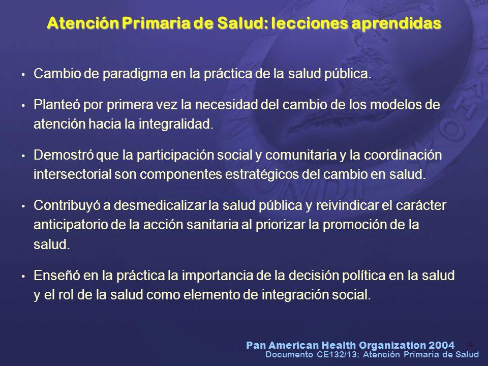 Atención Primaria de Salud: lecciones aprendidas
