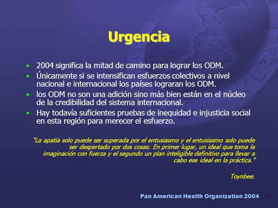 Urgencia 2004 significa la mitad de camino para lograr los ODM.