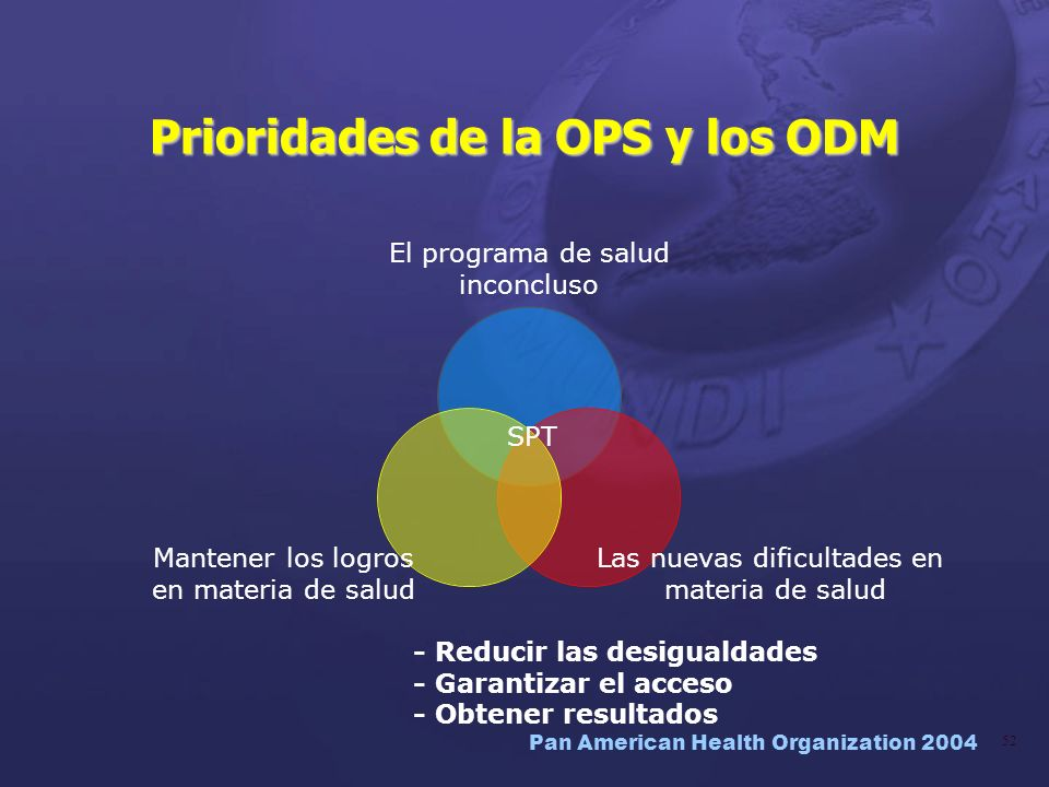 Prioridades de la OPS y los ODM