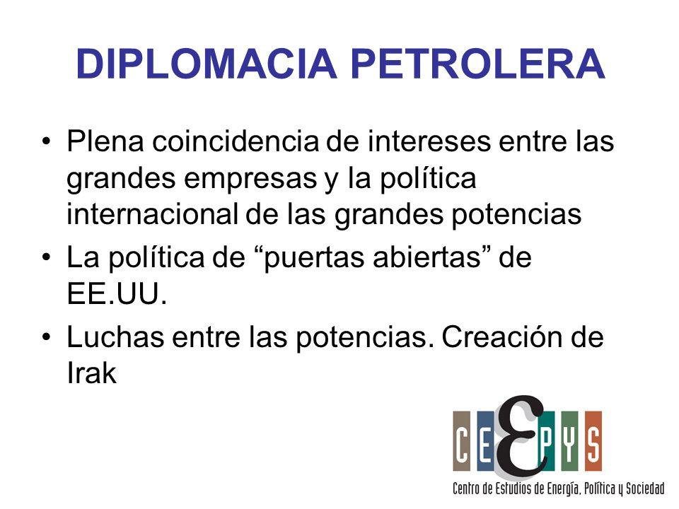 DIPLOMACIA PETROLERA Plena coincidencia de intereses entre las grandes empresas y la política internacional de las grandes potencias.