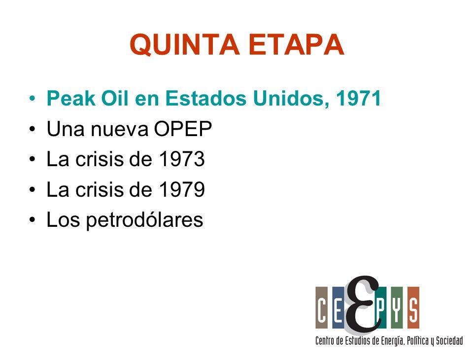 QUINTA ETAPA Peak Oil en Estados Unidos, 1971 Una nueva OPEP