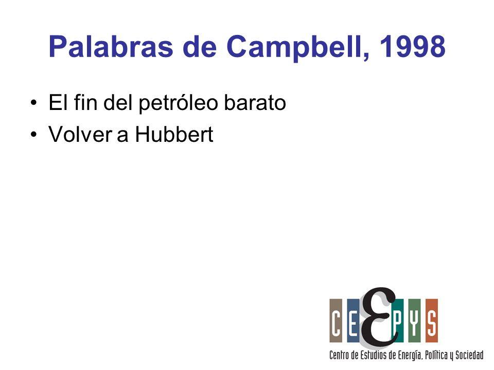 Palabras de Campbell, 1998 El fin del petróleo barato Volver a Hubbert