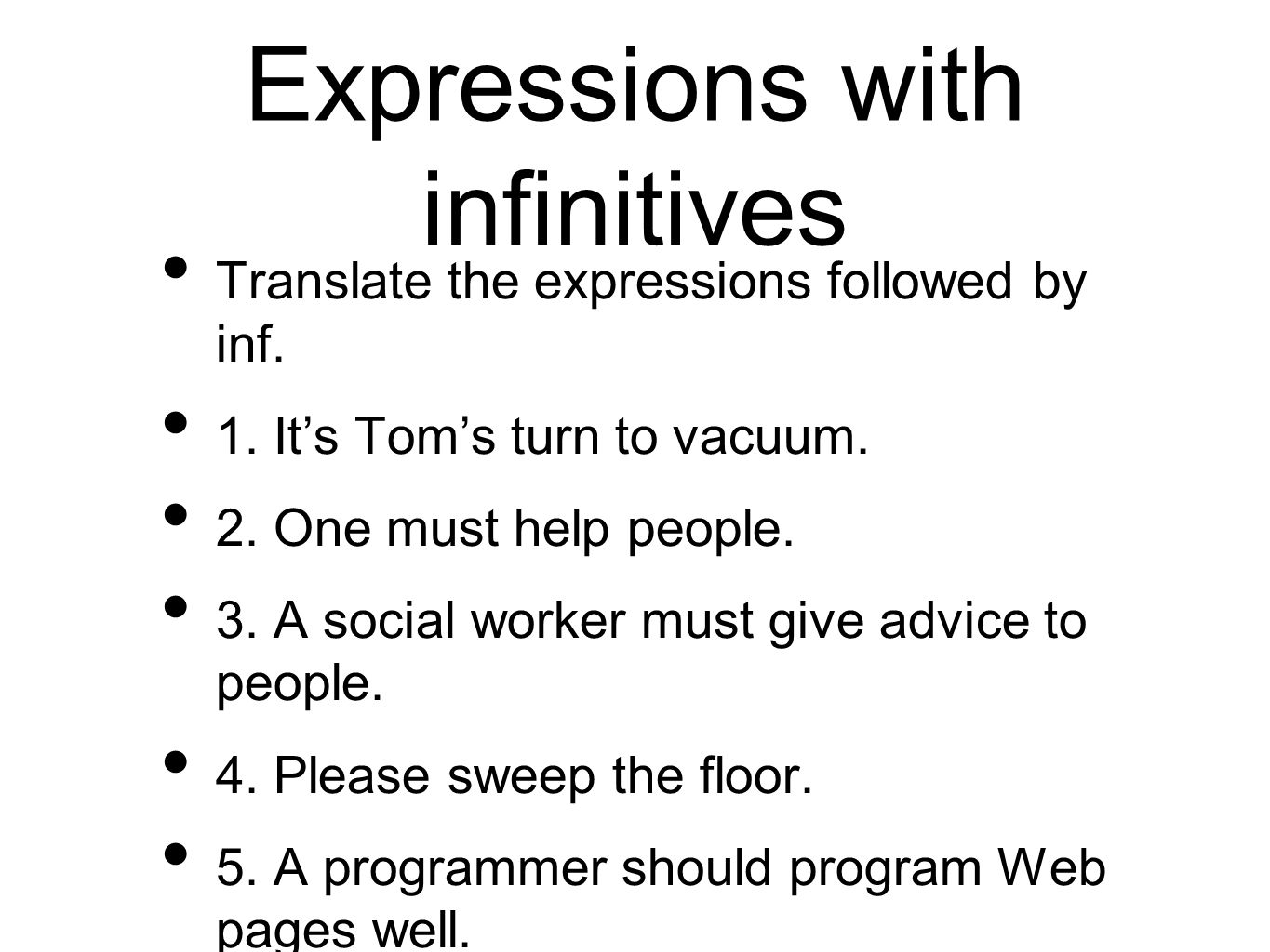 Expressions with infinitives