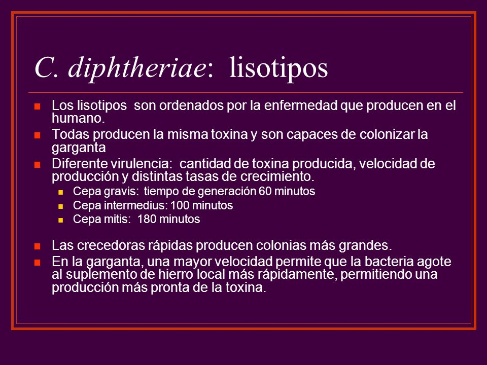 C. diphtheriae: lisotipos