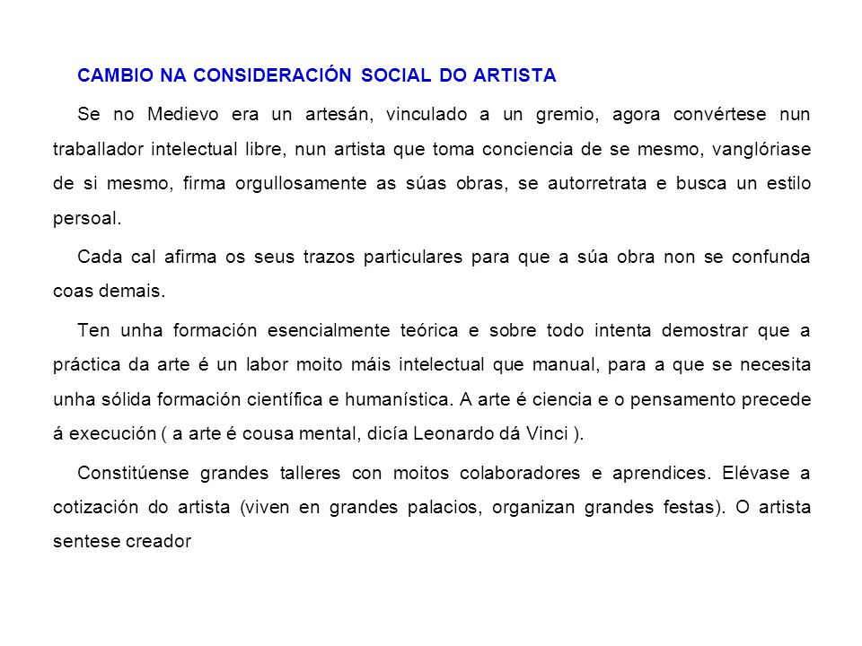 CAMBIO NA CONSIDERACIÓN SOCIAL DO ARTISTA