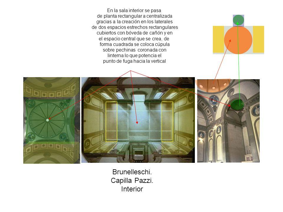 Brunelleschi. Capilla Pazzi. Interior En la sala interior se pasa