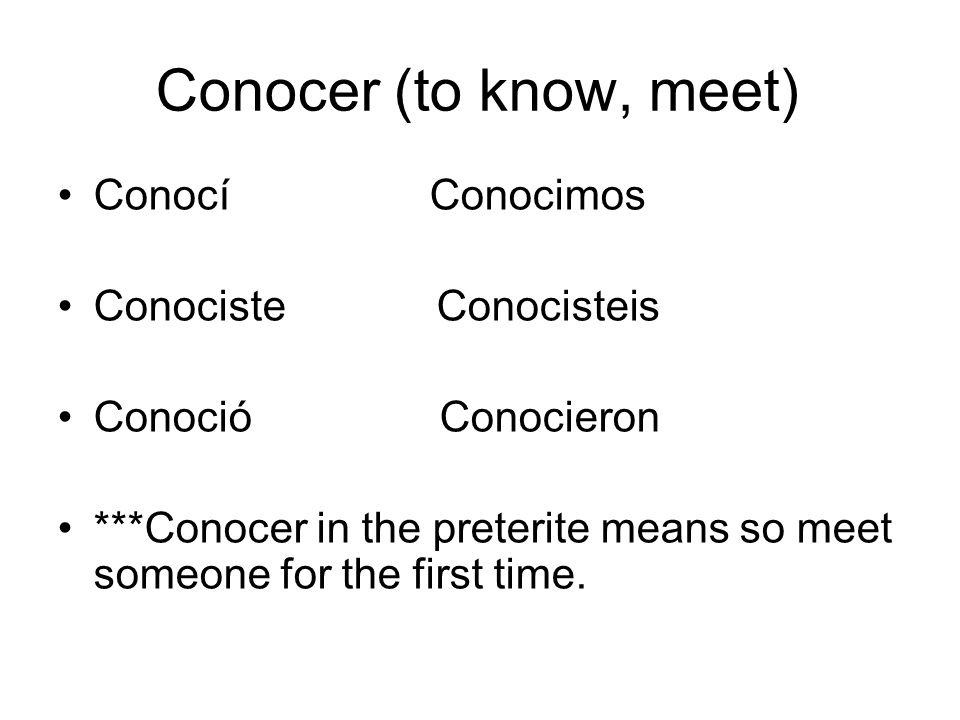 Conocer (to know, meet) Conocí Conocimos Conociste Conocisteis