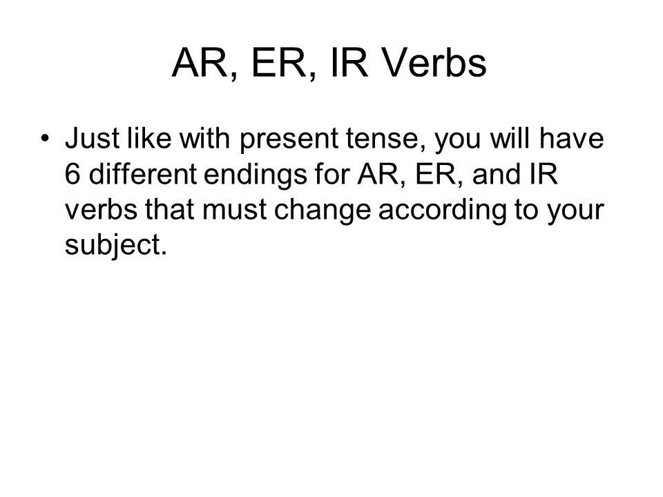 AR, ER, IR Verbs