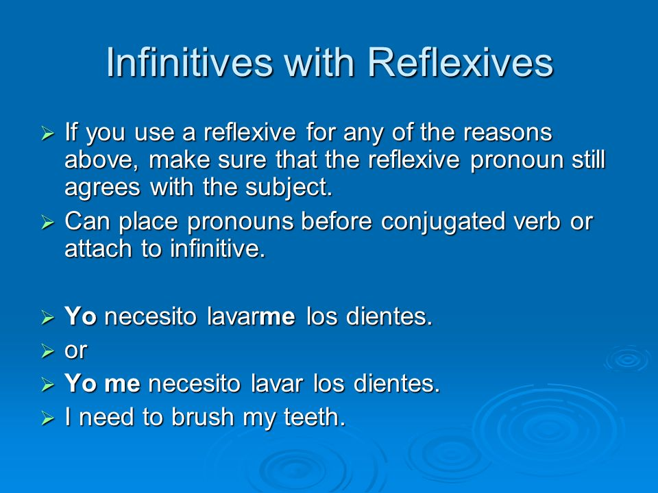 Infinitives with Reflexives