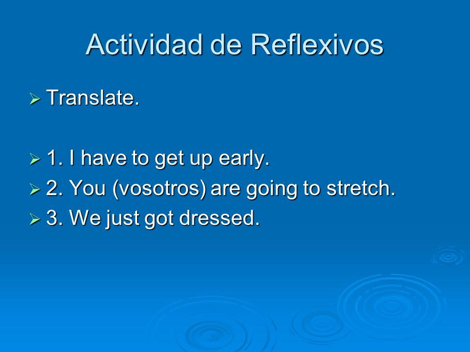 Actividad de Reflexivos