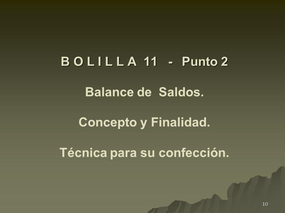 B O L I L L A 11 -. Punto 2 Balance de Saldos. Concepto y Finalidad
