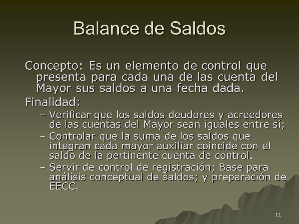Balance de Saldos Concepto: Es un elemento de control que presenta para cada una de las cuenta del Mayor sus saldos a una fecha dada.
