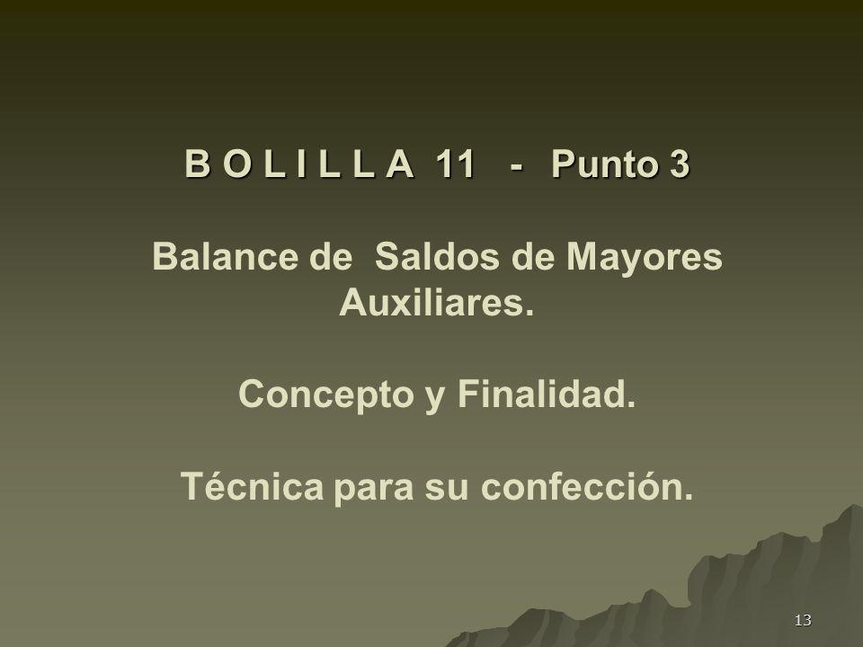 B O L I L L A 11 -. Punto 3 Balance de Saldos de Mayores Auxiliares