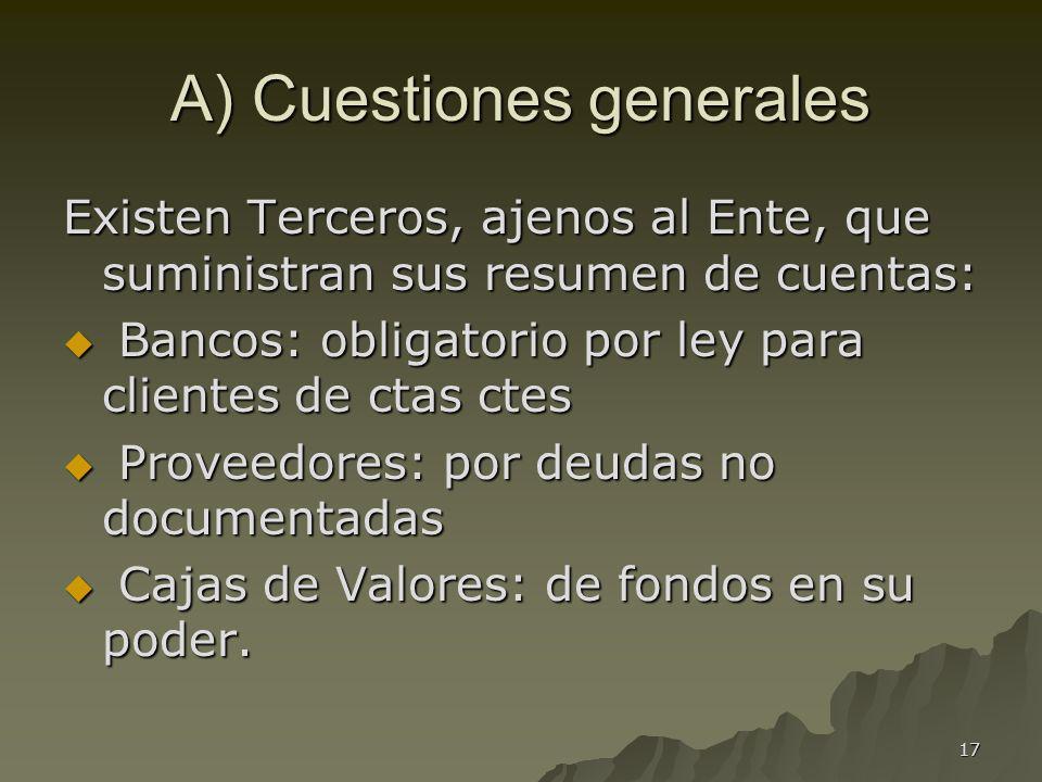 A) Cuestiones generales