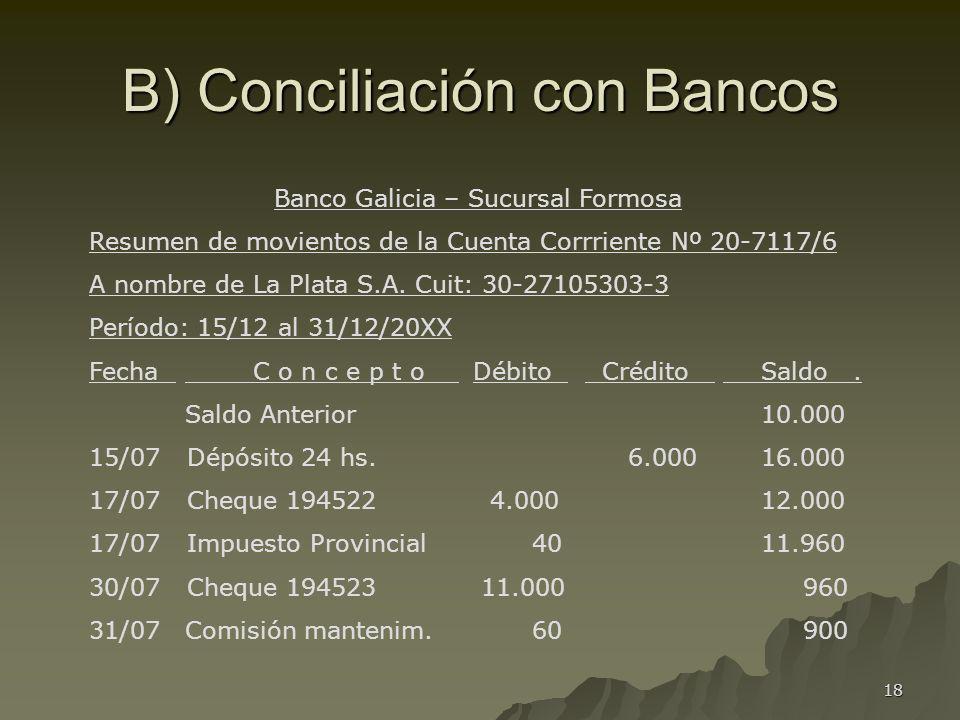 B) Conciliación con Bancos