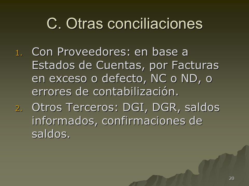 C. Otras conciliaciones