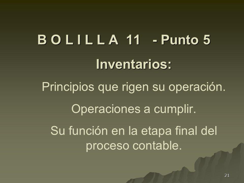 B O L I L L A 11 - Punto 5 Inventarios: Principios que rigen su operación.