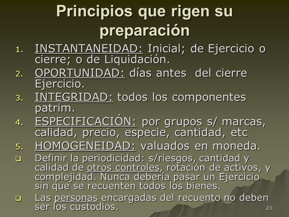 Principios que rigen su preparación