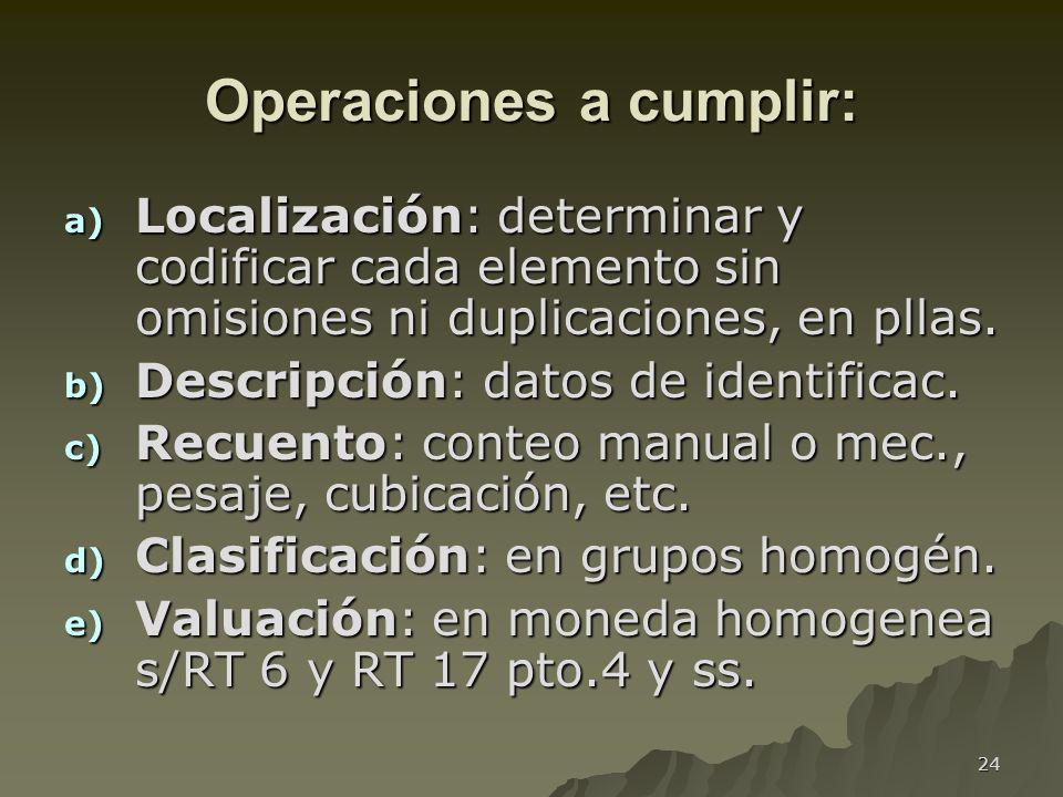 Operaciones a cumplir: