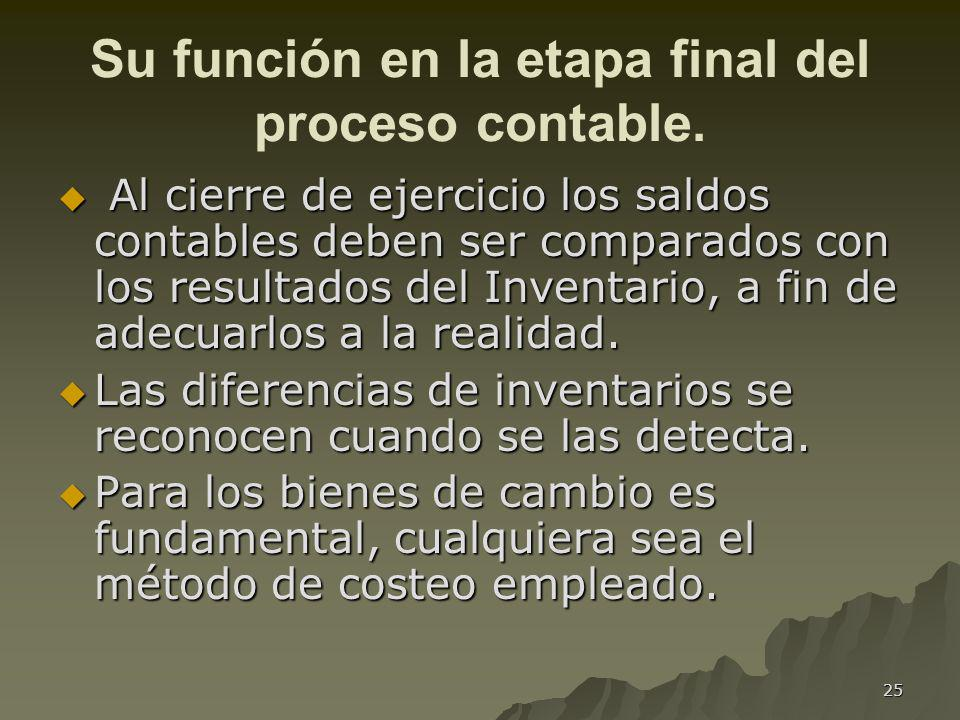 Su función en la etapa final del proceso contable.