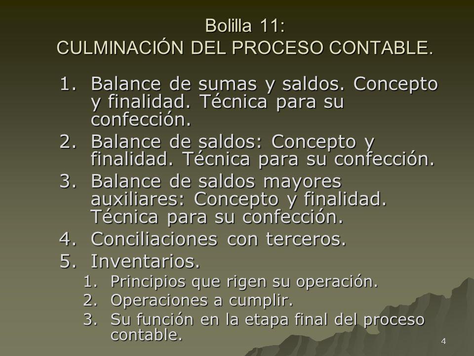 Bolilla 11: CULMINACIÓN DEL PROCESO CONTABLE.