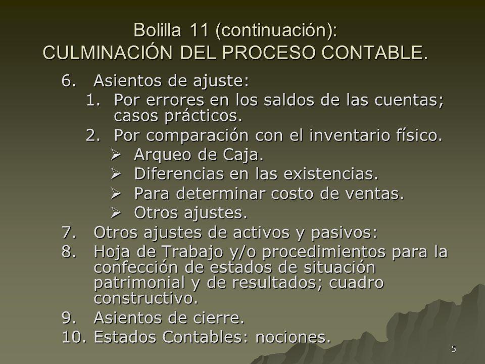 Bolilla 11 (continuación): CULMINACIÓN DEL PROCESO CONTABLE.