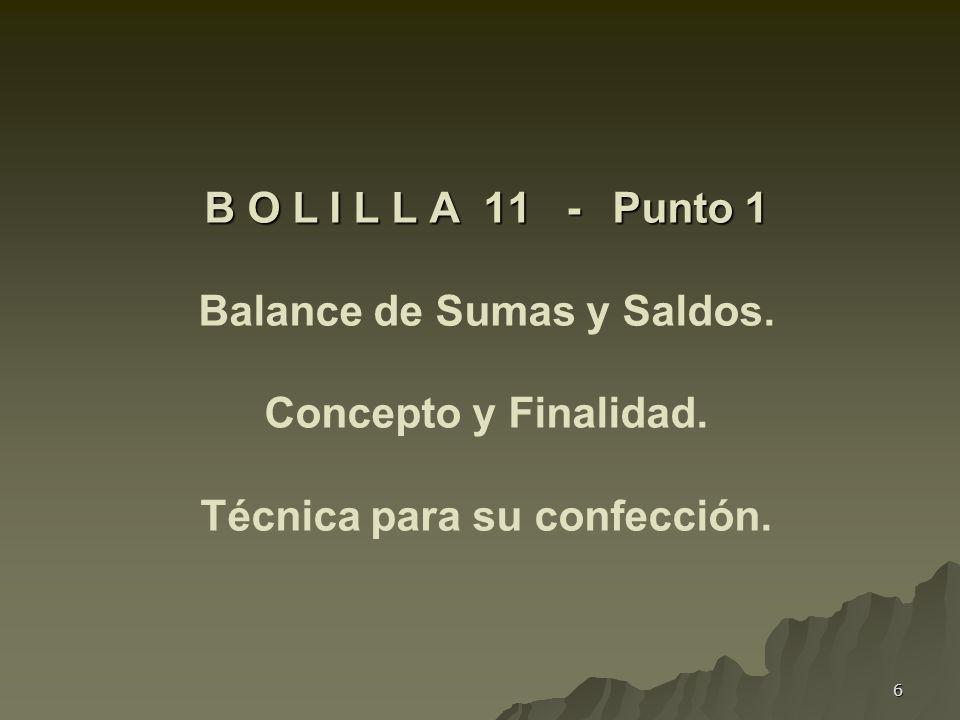 B O L I L L A 11 -. Punto 1 Balance de Sumas y Saldos