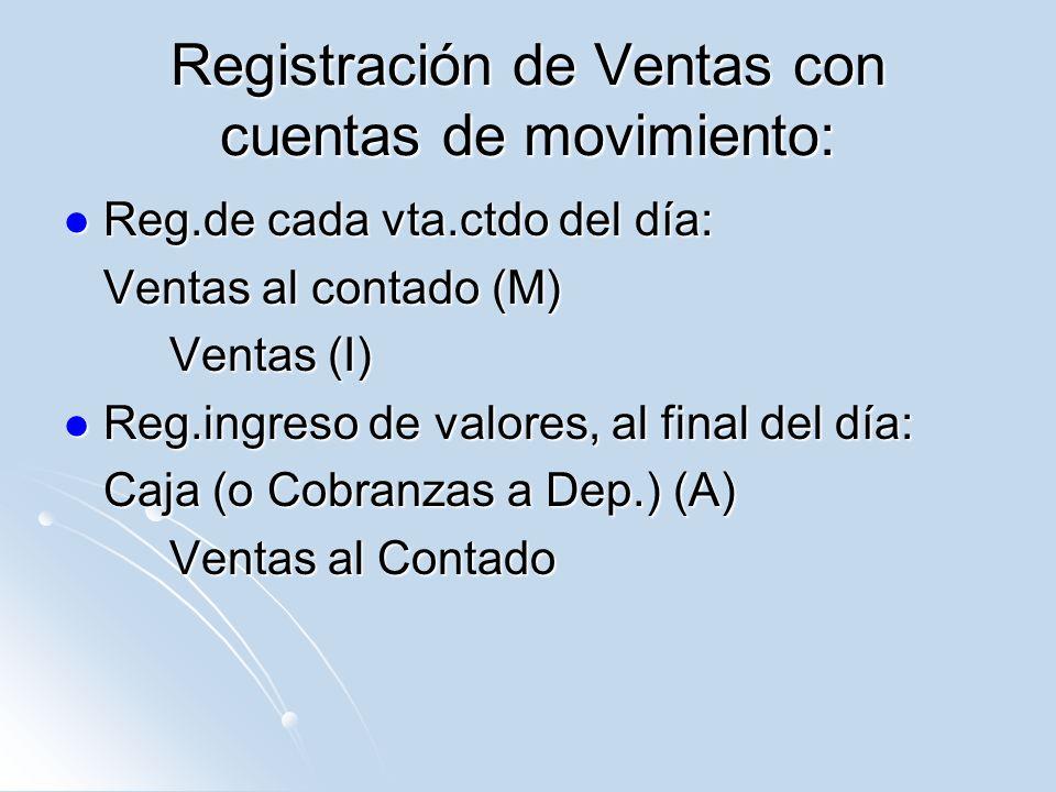 Registración de Ventas con cuentas de movimiento: