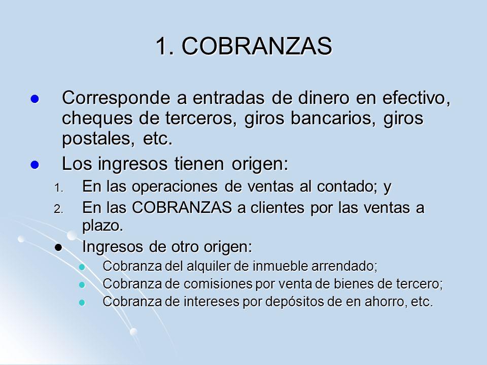 1. COBRANZAS Corresponde a entradas de dinero en efectivo, cheques de terceros, giros bancarios, giros postales, etc.