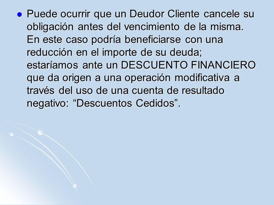 Puede ocurrir que un Deudor Cliente cancele su obligación antes del vencimiento de la misma.