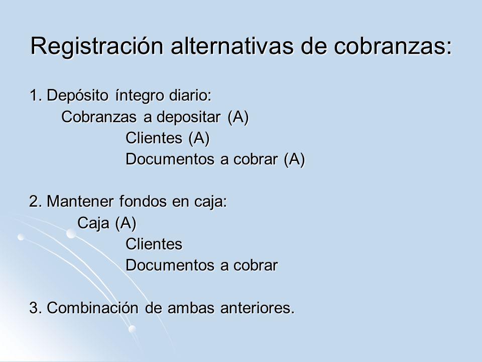 Registración alternativas de cobranzas: