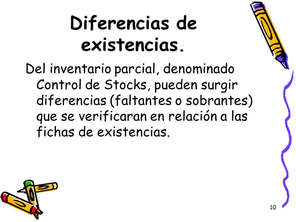 Diferencias de existencias.