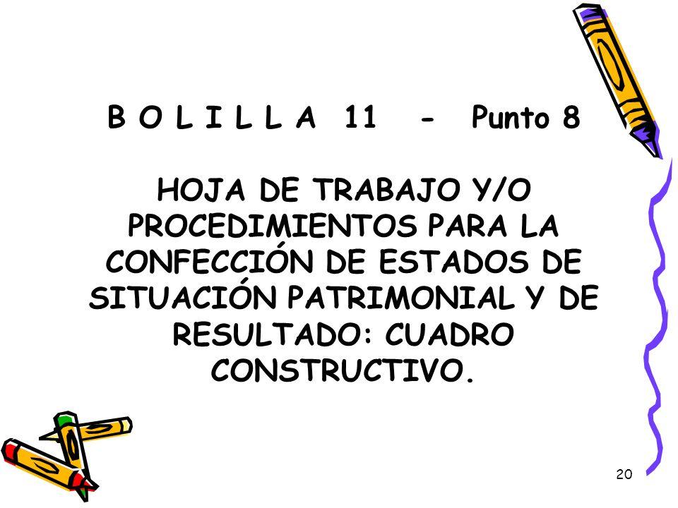 B O L I L L A 11 - Punto 8 HOJA DE TRABAJO Y/O PROCEDIMIENTOS PARA LA CONFECCIÓN DE ESTADOS DE SITUACIÓN PATRIMONIAL Y DE RESULTADO: CUADRO CONSTRUCTIVO.