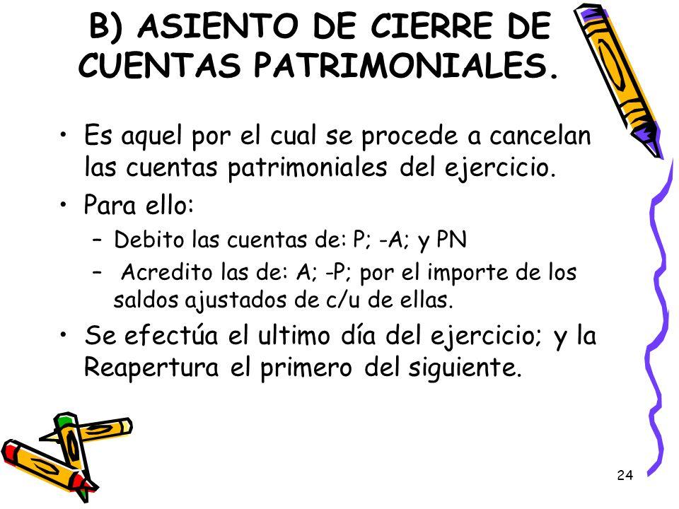 B) ASIENTO DE CIERRE DE CUENTAS PATRIMONIALES.